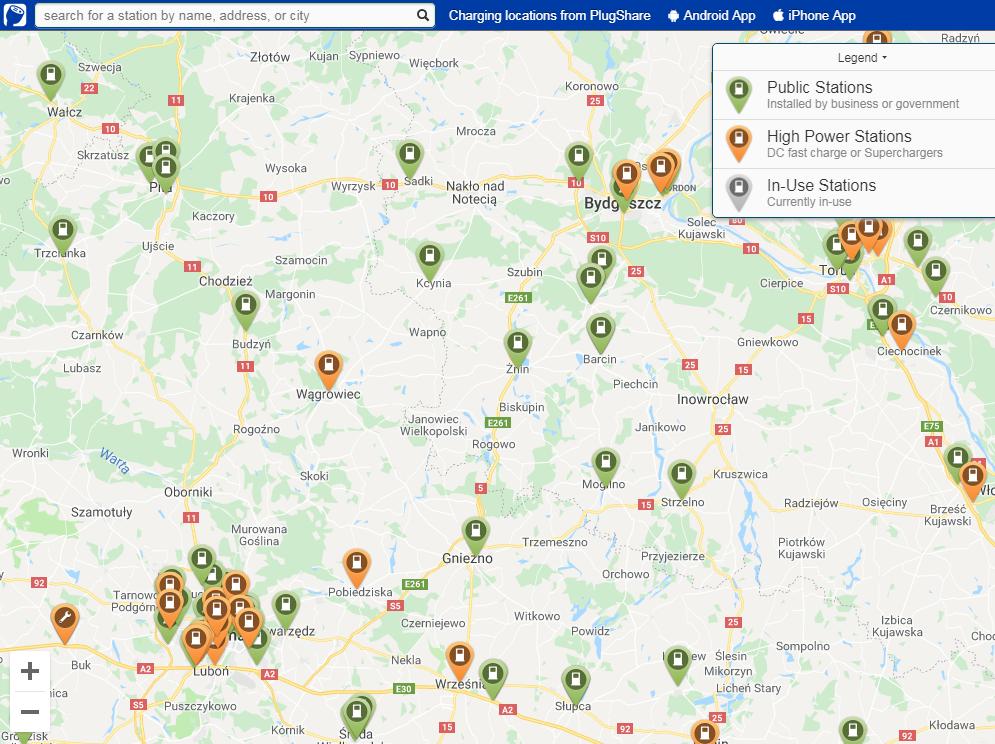 mapa punktów ładowania samochodów na prąd