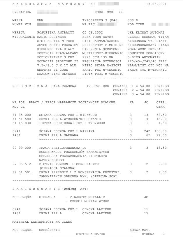kosztorys odszkodowania OC sprawcy - strona 2